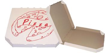 Obrázek Pizza krabice, 28 cm, bílo hnědá s potiskem